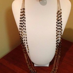 Five 5 strand gold chain with brown beads 34""